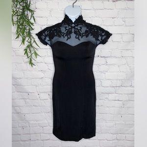 Tadashi Shoji black lace and neoprene dress